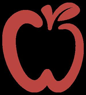 Red apple overlay logo
